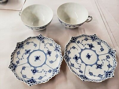 2 Royal Copenhagen Blue Fluted Full Lace  Saucers 1st Denmark 1130 cups cracked