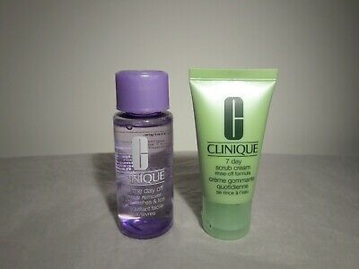 Clinique 7 Day Scrub Cream+Take The Day Off Makeup Remover For Lids Lashes Lips