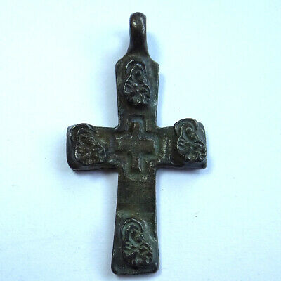 Ancient Artifact Bronze Old Russian Cross Ic Xc With St.mary