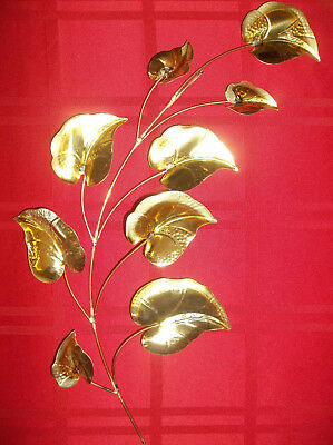 """Homco Home Interiors Gold Leaves Wall Decor Vintage Metal VGC 19/"""" Face L or R"""