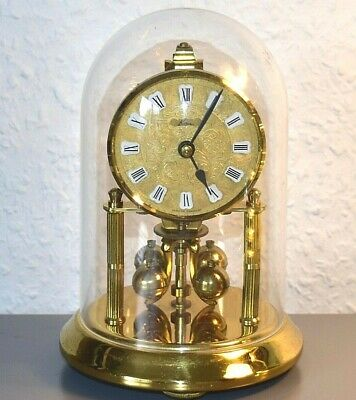 KERN Vintage glass dome mantle clock. Germany. Brass. Running.