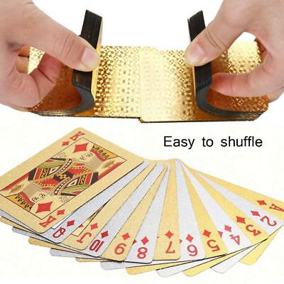 Joyoldelf mazzi Set Giochi Carte Poker Impermeabili 24K Magic Feste Lamina d'oro