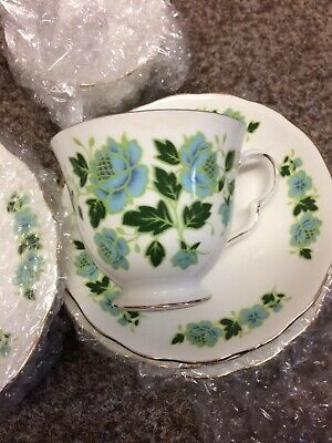 Royal Vale bone china cups, saucers and small side plates