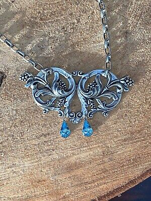 Stunning Silver Floral Art Nouveau Necklace Pale Blue Ladies Gift By Merrily Mad