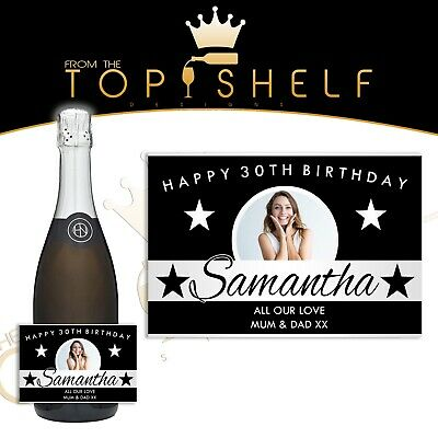 Personalised champagne Lanson Pink Replica bottle label any occasion
