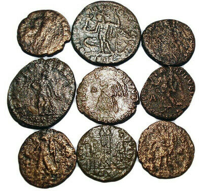 Lot of 9 Æ2-4 Ancient Roman Bronze Coins from III.-IV. Century