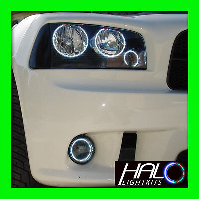 2006-2010 Oracolo Dodge Charger Led Bianchi Triplo Faro + Nebbia Halo Anello Kit