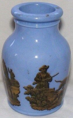 Victorian Antique Prattware - Pale Blue Jar with Hunting Scenes,19th August 1856