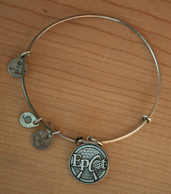 Alex and Ani Disney Parks Epcot silver color charm bangle bracelet made in USA