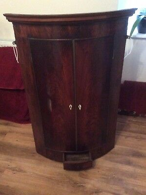 Antique Georgian Bow Front Corner Cupboard Flame Mahogany Chequer Strung Inlay