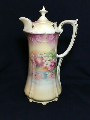 "Beautiful Vintage Porcelain RS Prussia 10"" Chocolate Pot Floral Reflective Pool"