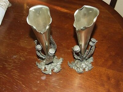 Pair of Silver Plated Ornate Vases