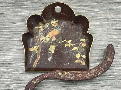 Victorian Papier Mache Crumb Tray Dustpan & Brush Hand Painted Butterfly & Bird