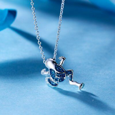 Lovely Blue Enamel Frog Animal Pendant Necklace Womens Jewellery Gift Party New