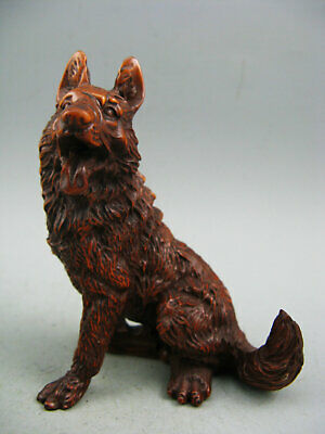 Rare Old Antique Collectible Boxwood Hand Carved Wolf Netsuke Statue
