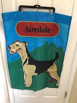 """Airedale Terrier Double Sided House Flag 27.5"""" x 40"""" Portrait Flag Outdoor Nylon"""