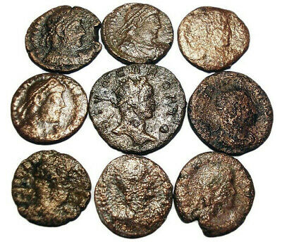 Lot of 9 Æ2-4 Ancient Roman Bronze Coins