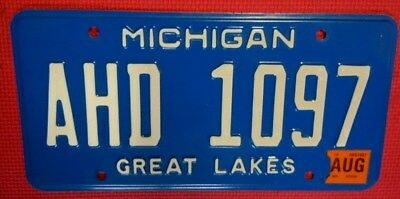 Michigan License Plate Tag Number Ahd 1097 Classic Mi Colors