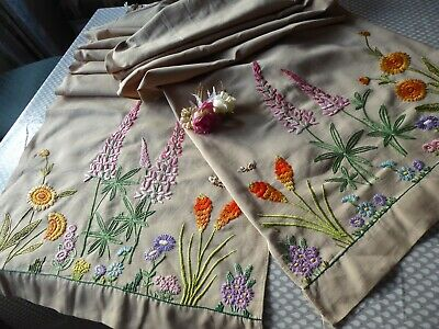 Vintage Hand Embroidered Curtains /pair= Stunning Hand Embroidery