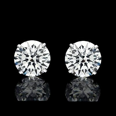 4Ct Round Cut Created Diamond Earrings 14K Solid White Gold Stud