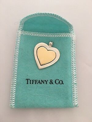 VINTAGE TIFFANY & Co 18k GOLD AND STERLING SILVER HEART NECKLACE PENDANT 750/925