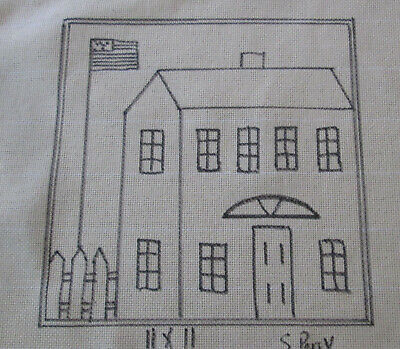 House with Flag Rug Hooking or Punch Needle pattern on monks cloth