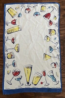 Vintage LINEN Tea BAR TOWEL Retro COCKTAILS Drinks Barware MCM Mid Century Mod