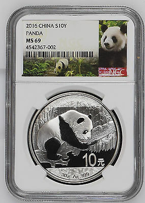 2016 China Panda NGC MS 69 S10Y 30g .999 Fine Silver Chinese Coin Graded 10 Yuan