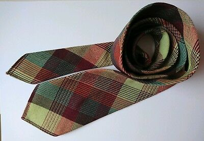 Vintage 1950's/60's UK Klipper All Wool Brown & Green checked, Tartan, Plaid Tie