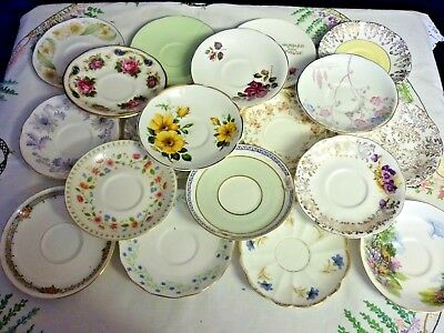 Mismatched lot of 10 Round Vintage Bone China Saucers -  Tea Party Weddings