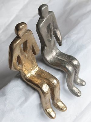Pair Artisan Heavy Metal Sitting Figures - Gold Silver Finish Book Ends?