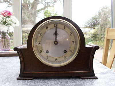 Lovely Oak Cased Garrards Striking Mantle Clock