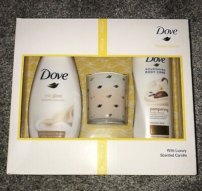 Dove Elegant Beauty Gift Set With Luxury Scented Candle Brand New Unopened