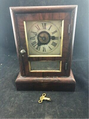 "Antique Miniature Seth Thomas Mantel Clock 9 1/2"" Running With Key, Pendulum"