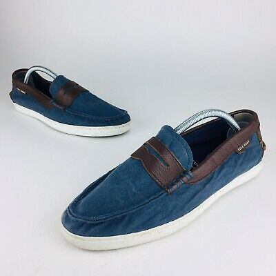 3deee235811 Cole Haan Grand OS Navy Canvas Slip On Boat Shoes Pinch Marine Classic Mens  8.5M