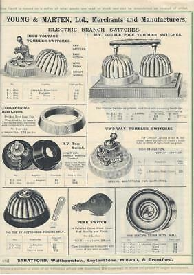 Vintage Architectural Advert Young and Marten Stratford - Electrical Switches .