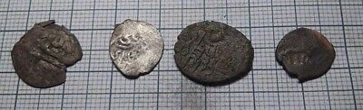 Rare Lot of 4 Ancient silver bronze coin of the Golden Horde,no reserve!!! #347