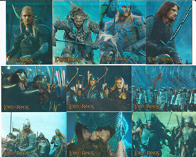 """Lord Of The Rings ~ """"the Two Towers"""" Topps Prismatic Foil 10-Card Set ~ 2002"""