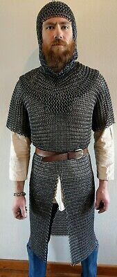 Handmade butted ringmail hauberk and coif