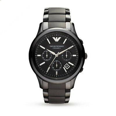 Rrp399$ Emporio Armani Ar1452 Black Ceramic Matte Mens Watch - 2 Years Warranty