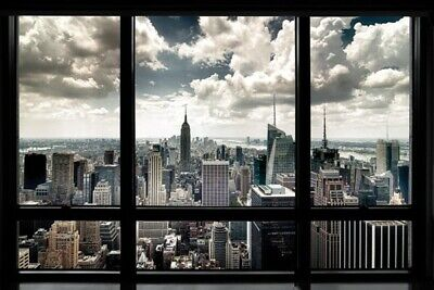Nyc New York City Window Black And White Poster New 36X24 Free Shipping