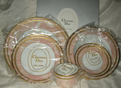 Christian Dior Marbre Rose fine china 5 piece place setting pink marble w/ box