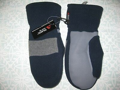 Lands End Navy & Grey Polartec Mittens - Size Large - Bnwt