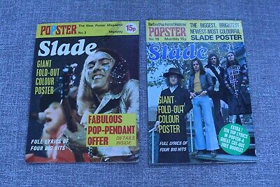 SLADE Posters in #3 & #19 POPSTER POSTER MAGAZINE 1974 & 1975  #19 Near Mint