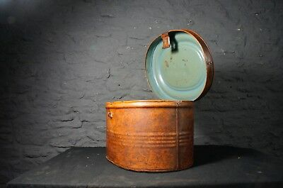 Antique Tin Hat Box ~ Vintage Decorative Storage / Shop Display ~ Original Paint