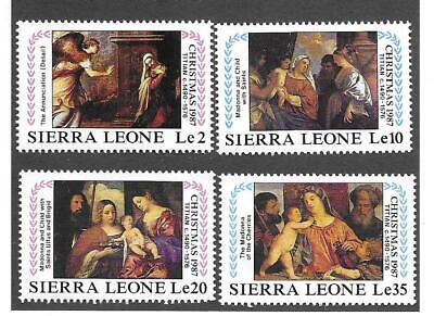 SIERRA LEONE 1987 COMPL.SETof 4 CHRISTMAS, PAINTINGS BY TITIAN; MNH, Sc# 944-947