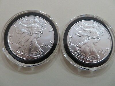 2017 Silver American Eagle 1oz coin. Brilliant.Uncirculated.Lot of 2.