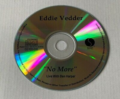 EDDIE VEDDER No More (Live with Ben Harper) Advance Promo CD Single PEARL JAM