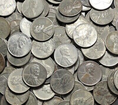 1943 Steel Wheat Cent Penny Roll 50 Coins - (50) Steel Penny Wheat Cents