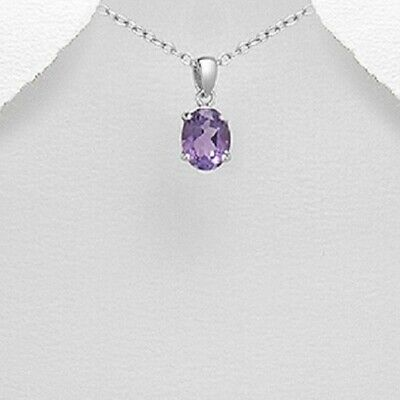Amethyst Gemstone dainty oval pendant 925 sterling silver rhodium plated shiny
